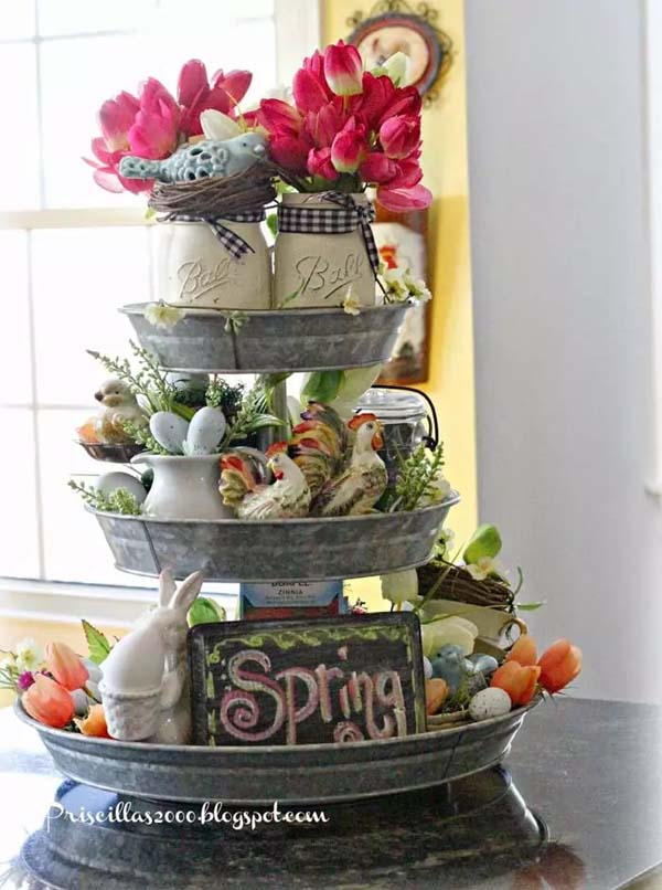 A Tiered Stand Makes a Perfect Spring Decoration #spring #decor #homedecorimage