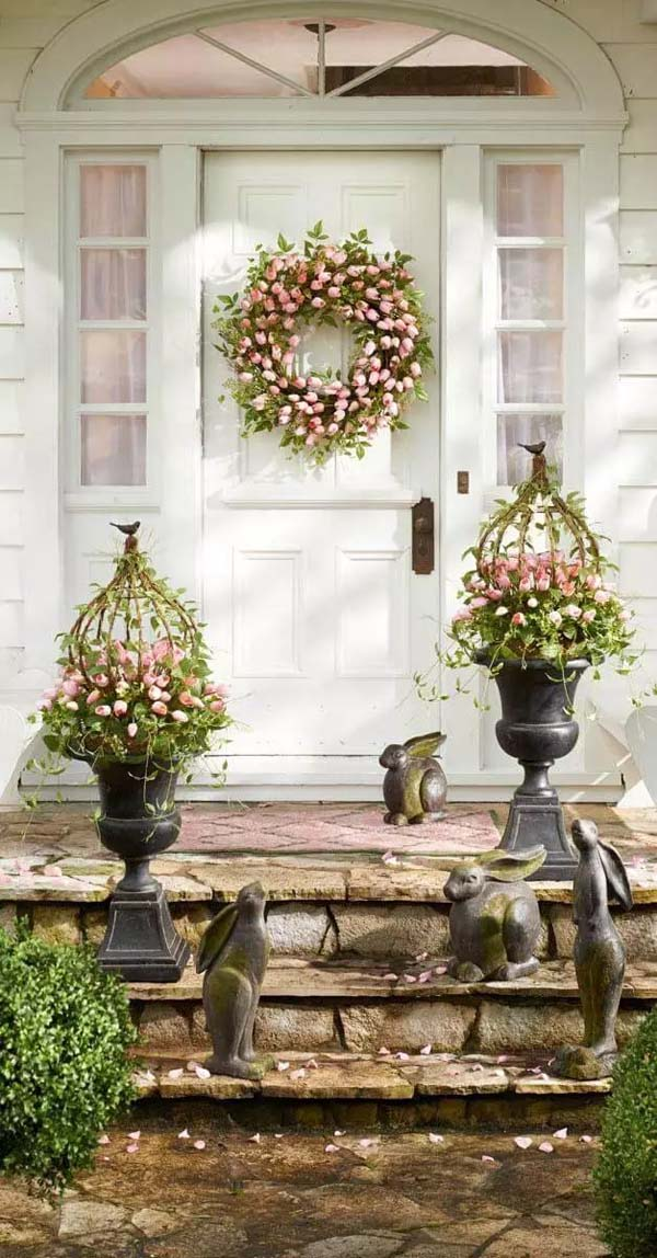 Arrange the Plants and Wreath in the Same Color #spring #decor #homedecorimage