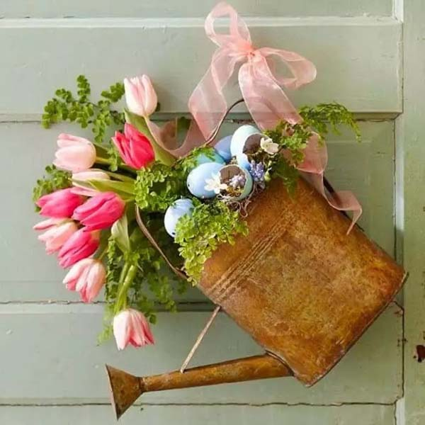 Watering Can with Flowers #spring #decor #homedecorimage