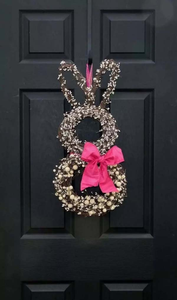 Welcome Easter with a Bunny Wreath #spring #decor #homedecorimage