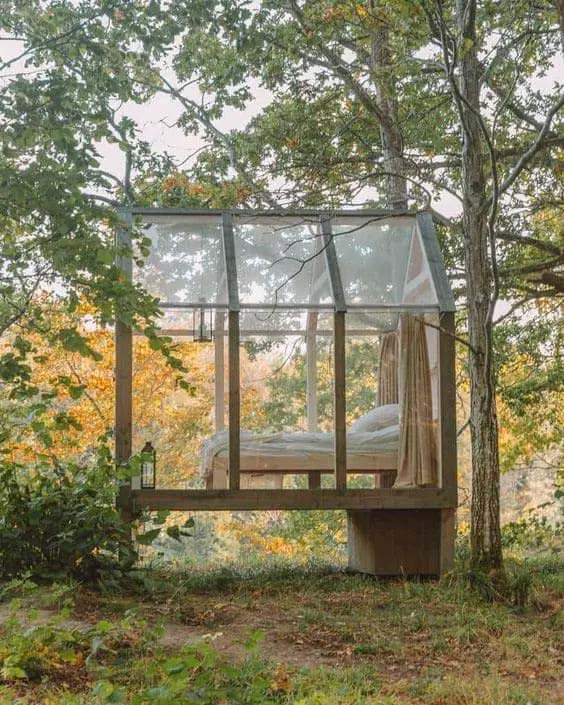 Glass Cabin in the Woods #smallbackyardhouses #homedecorimage