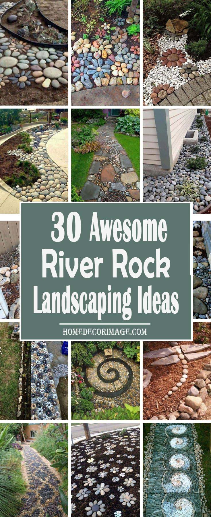 30 Awesome River Rock Landscaping Ideas To Add More Charm To Your Yard #riverrocklandscapingideas #homedecorimage