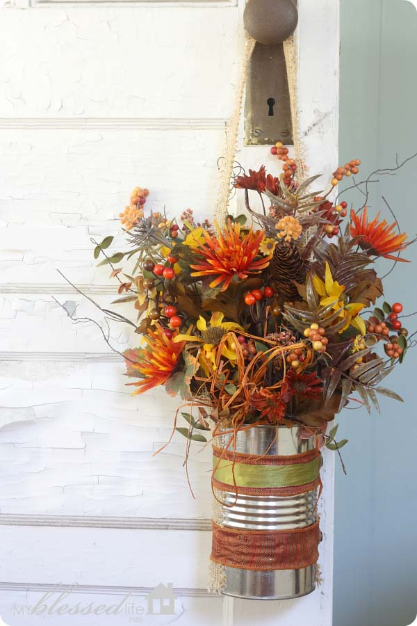 DIY Fall Front Decor with Can Vase and Flowers #fallfrontdoordecor #homedecorimage